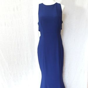 Betsy and Adam Navy Blue Halter Gown